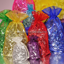 Custom ribbon double pull cords organza bags pouches