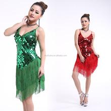 Gros femmes latine robe sexy paillettes couvert fringe ballroom latine concours de danse robes