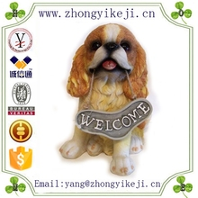 2015 chinese factory custom made handmade carved hot new products Resin flocked decoration dog