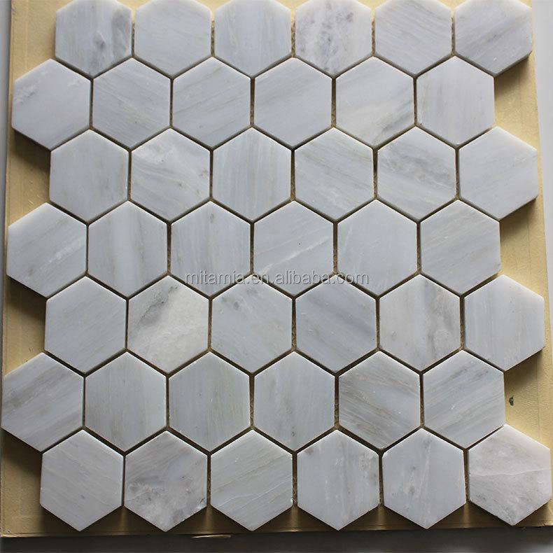 Oriental hexagone marbre blanc mosa que pour planchers et for Carrelage style marbre