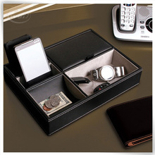 Luxury unique PU leather office desk organizer stationery set desk valet tray wholesale