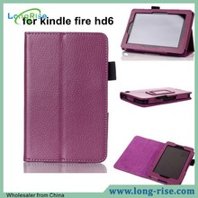 Cheap Price Leather Flip Stand Case Cover for Amazon Kindle Fire hd6 with Pen Holder