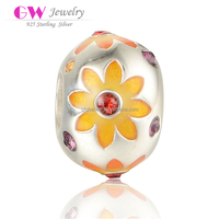 Wholesale 925 Sterling Silvers Beads Inalying Nature Zircon Beads Orange Enamel Sunflower Pattern Silver Charms
