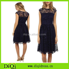 Womens collect waist slim fit black lace casual dress made in china