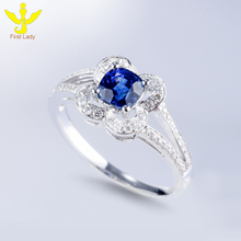 Natural Solid 18K White Gold Diamond 0.84ct Round Cut Blue Sapphire Wedding Rings Jewelry