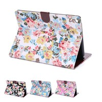 Cute fllower Multi-function Wallet Leather Case for ipad air 2 wallet Case with stand and credit card slot
