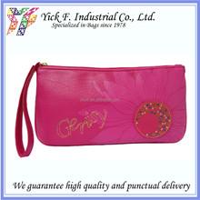 Elegant Pink PU Leather Ladies Women Cosmetic bag / Purse / Clutch