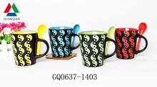 Guangxi 340cc ceramic beer mug emboss new design high quality