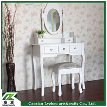 white wood vanity set dressing table with mirror and stool,new design vanity table
