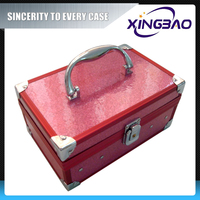 Pink lockable covenient cosmetic case,waterproof lastest cosmetic case,PVC panel aluminum cosmetic case