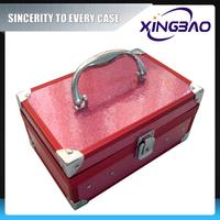 Pink lockable covenient cosmetic case,waterproof lastest cosmetic case,PVC panel aluminum cosmetic case