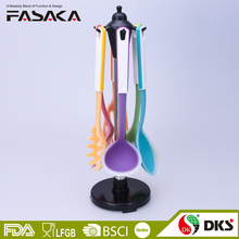 TSY003 Plastic handle colorful silicone with nylon core kitchen utensils set with plastic stand