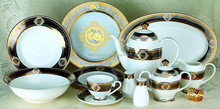 Rose design Embossed gold porcelain dinnerware set