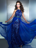 2014 Sexy Halter Blue Prom Dresses Beaded Crystals Sequins Backless Mermaid Evening Dresses