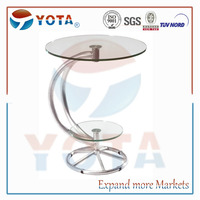 Round aluminium truss bar table with toughed glass plate