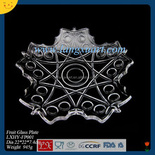 unique shape hand pressed clear glass fruit plate for hotel and restaurant