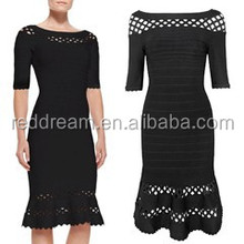 wave hem black evening dress