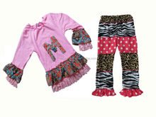 Alphabet pattern girls outfits girls thanksgiving outfit floral print ruffle new fashion baby girl outfit quarter sleeve designs