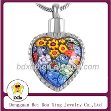 High Quality Rainbow Heart Murano Glass Memorial Jewelry Stainless Steel Human Cremation Keepsake Urn Pendant To Holder Ashes