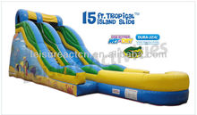 water slide inflatable game jumping castle 15ft tropical island digital print heavy duty PVC lead free Leisure Activities