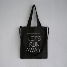 China factory wholesale reusable eco friendly Custom Black Canvas Shopping Bag