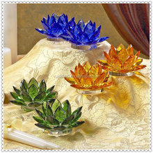 Colorful Wholesale Crystal Feng Shui Grass Lotus For Home Decoration