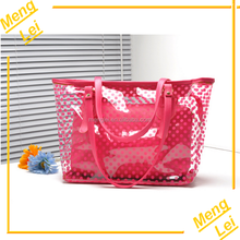 2015 ladies fashion outdoor waterproof transparent pvc tote beach bag