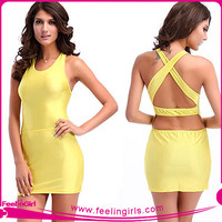 wholesale backless yellow sexy dresses club