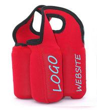Neoprene 4 pack wine bottle tote cooler bag