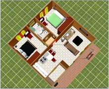 65 m2 prefabricated house/modular house 1 living room 2 bedroom 1 bathroom