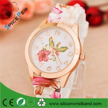 Fashion Quartz Watch Rose Flower Print Silicone Watches Floral Jelly Sports Watches For Women Men Girls Hot Pink Wholesale