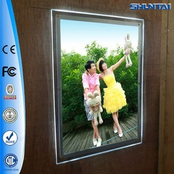 brightness slim single side indoor acrylic poster crystal LED light frame