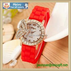 Butterfly header with diamond around silicone strap movement quartz wristwatch