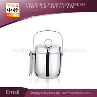 High quality SS 201 shinning ice particles bucket with tong