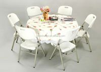 round plastic folding table with metal folding legs