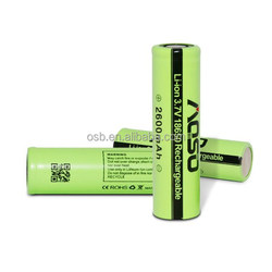 Promotional competitive 18650 3.7v battery aosibo 3.7v icr18650 li-ion rechargeable battery 2600mah capacity