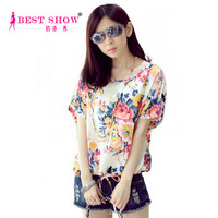 2015 Spring Summer Woman Fashion Clothes Tops Casual Women Chiffon Blouse Short Sleeve Womans Blouse With Flowers Printed 1588