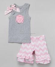 2015pretty baby girls kids children floral ruffles pants boutique aqua short sleeve shirt with belt design clothing sets