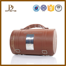 Convenient tool roll pu leather wine box custom , genuine leather gift box with handle