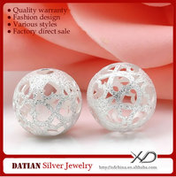 XD P656 Many Sizes Stardust Hollow 925 Sterling Silver Ball Beads