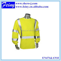 100% polyester good quality fluorescent high visibility t shirts safety vest motorcycle yellow