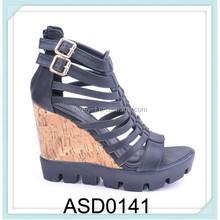 2015 hot selling two buckles fashion wood heel high heel ankle strap summer women gladiator sandals shoes