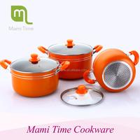 2015 hot sale stock pot enamelware wholesale pot set with glass lid