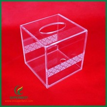 ODM/OEM Small Clear Acrylic Tissue Box With Slide Lid