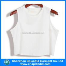 Customised crop tops cotton plain white singlet tank tops screen printed
