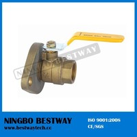 Brass flange type ball valve with flat steel handle