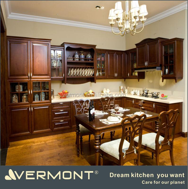 Cuisine en bois massif armoires armoire de cuisine id de - Modele placard de cuisine en bois ...