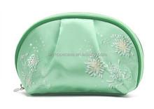 Hot selling pretty satin material cosmetic bag