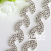 fashion rhinestone bridal trimmings chain, crystal color leaf shape rhinestone chain for shoes boots decoration