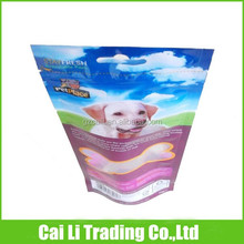 resealable plastic dog food packing stand up pouch with hang hole